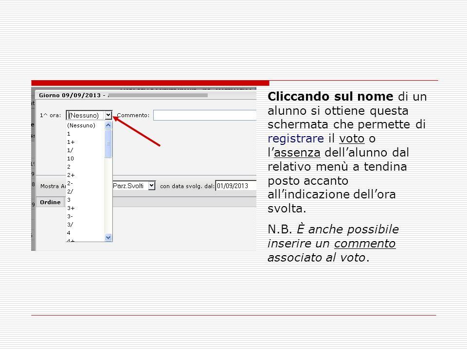 Cliccando sul nome di un alunno si ottiene questa schermata che permette di registrare il voto o l'assenza dell'alunno dal relativo menù a tendina posto accanto all'indicazione dell'ora svolta.