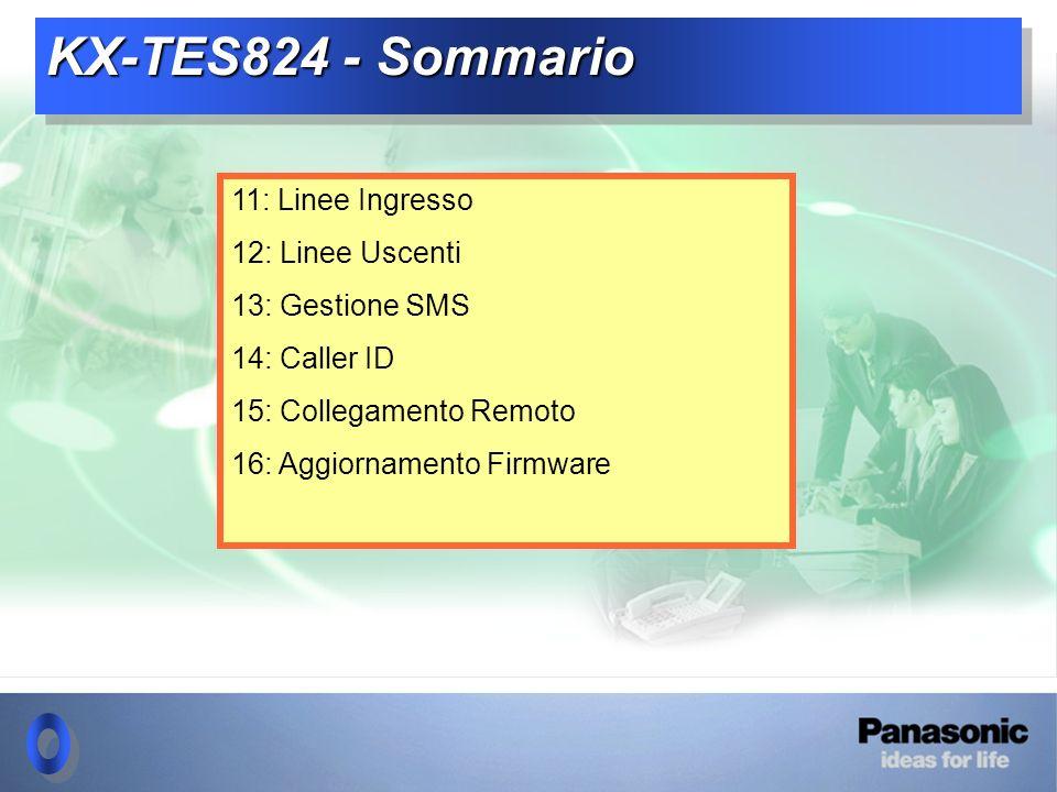 KX-TES824 - Sommario 11: Linee Ingresso 12: Linee Uscenti