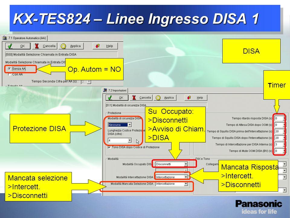 KX-TES824 – Linee Ingresso DISA 1