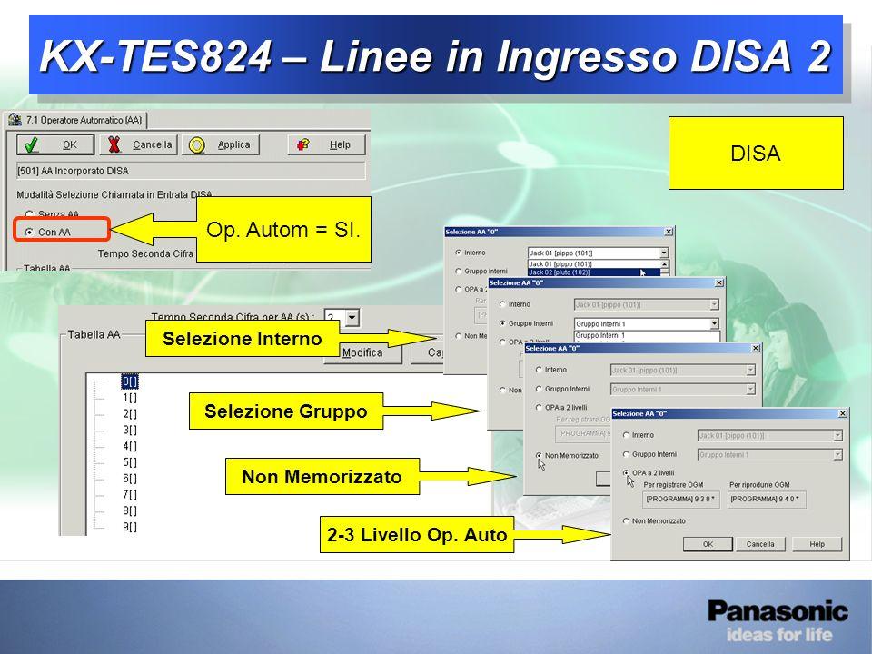 KX-TES824 – Linee in Ingresso DISA 2