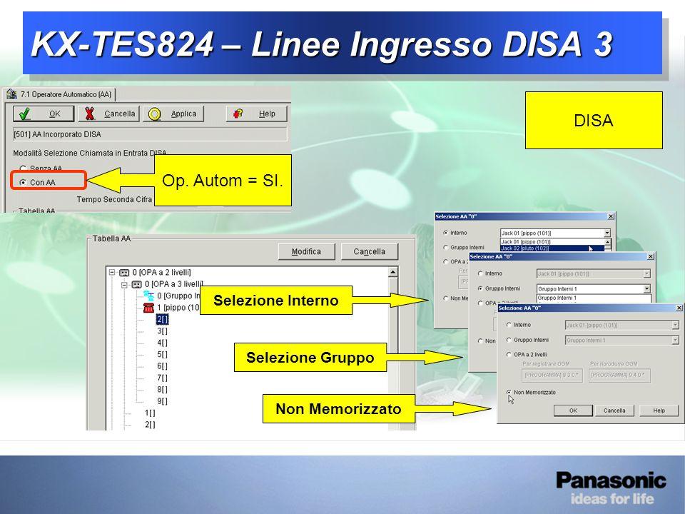 KX-TES824 – Linee Ingresso DISA 3