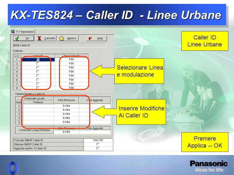 KX-TES824 – Caller ID - Linee Urbane