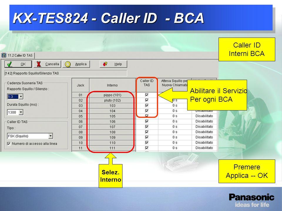 KX-TES824 - Caller ID - BCA Caller ID Interni BCA