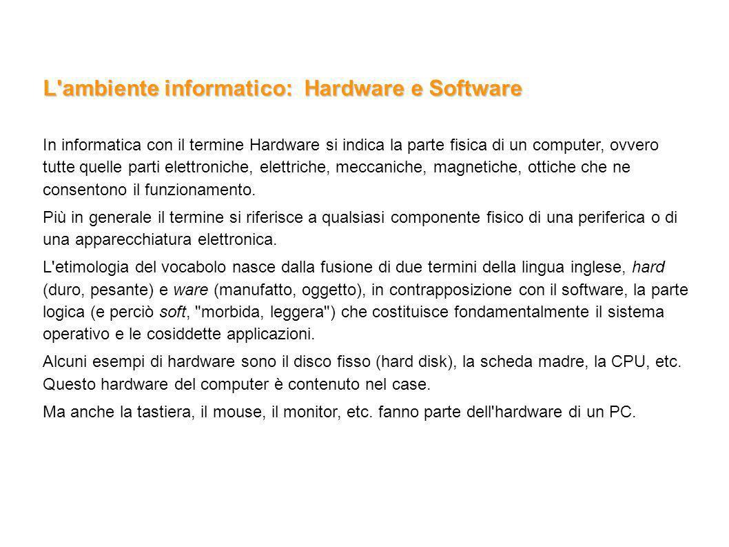 L ambiente informatico: Hardware e Software
