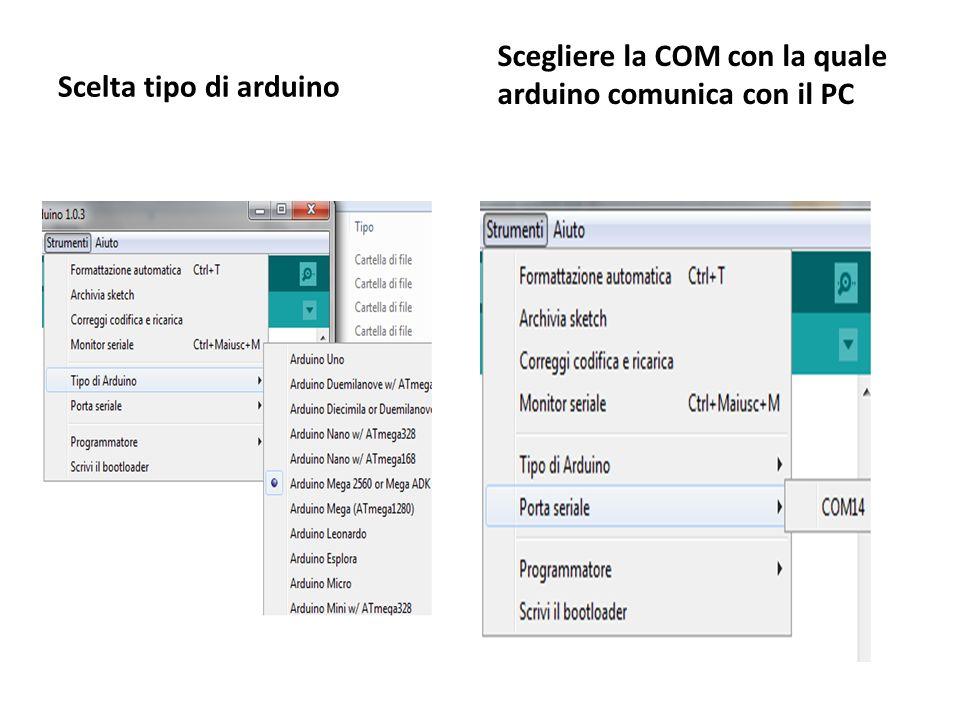 Scelta tipo di arduino Scegliere la COM con la quale arduino comunica con il PC