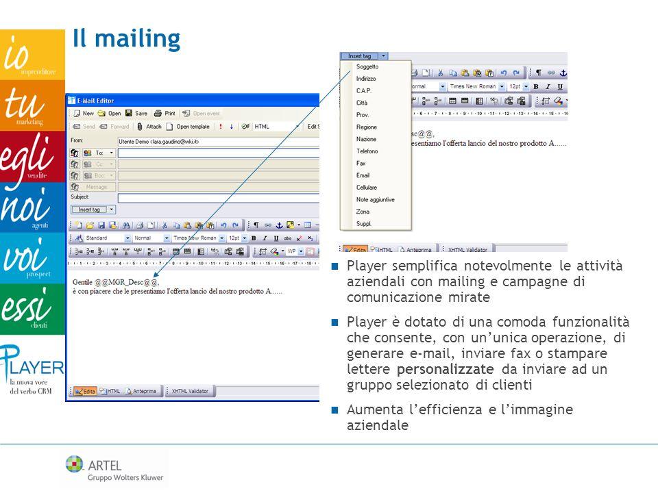 Il mailing Player semplifica notevolmente le attività aziendali con mailing e campagne di comunicazione mirate.