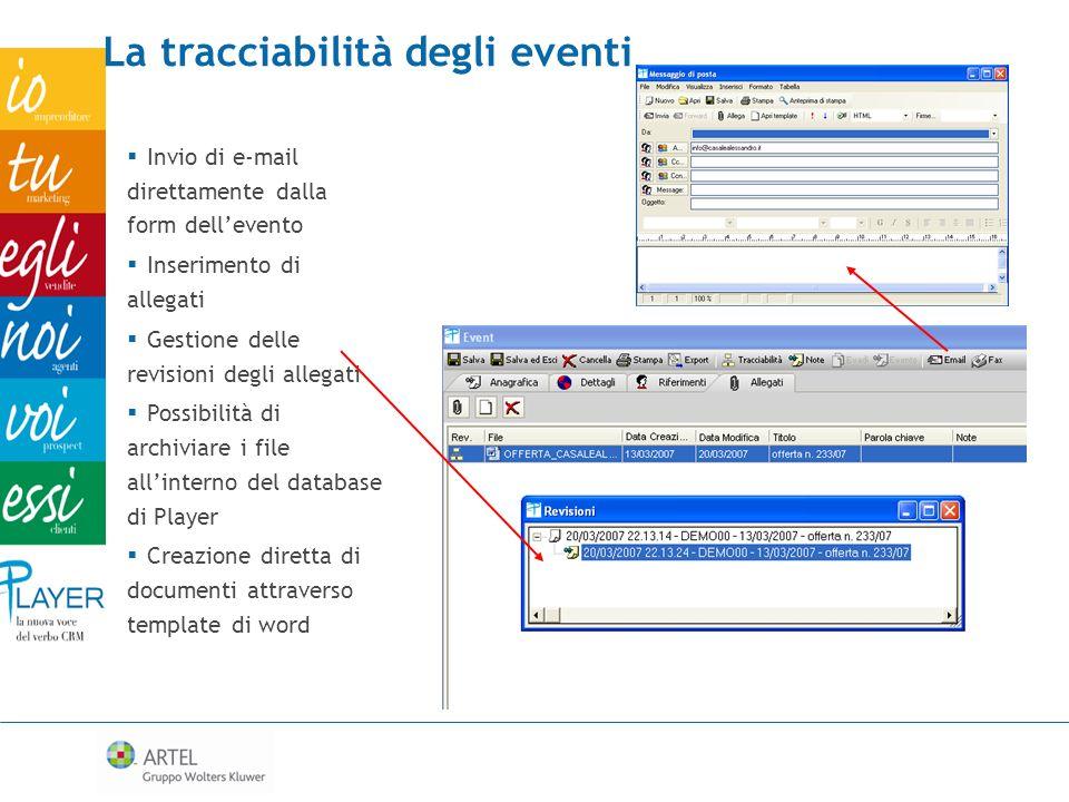 La tracciabilità degli eventi