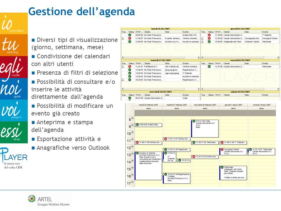 Gestione dell'agenda Diversi tipi di visualizzazione (giorno, settimana, mese) Condivisione dei calendari con altri utenti.