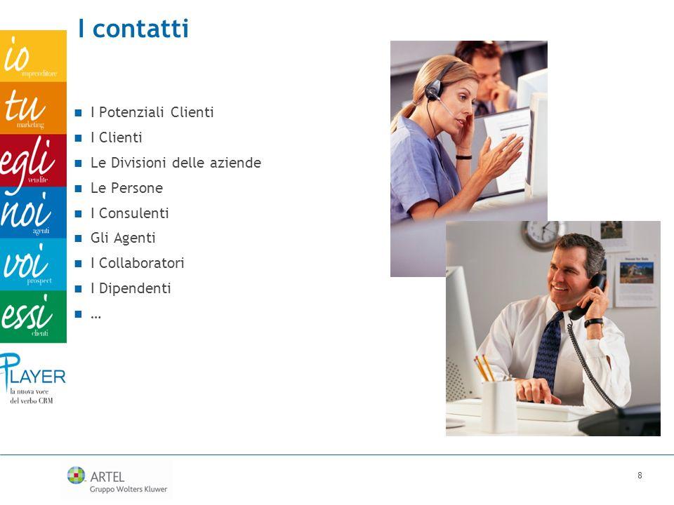 I contatti I Potenziali Clienti I Clienti Le Divisioni delle aziende