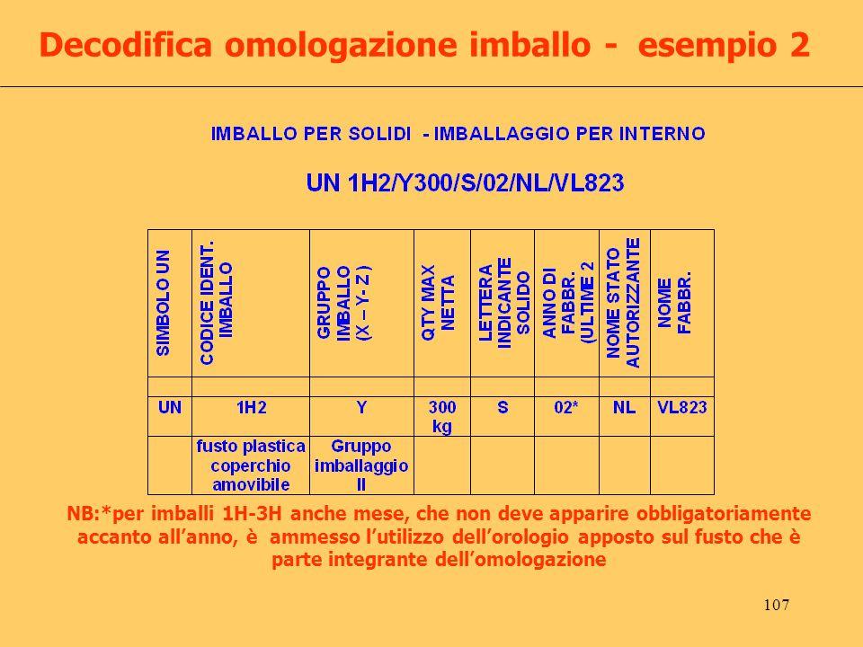 Decodifica omologazione imballo - esempio 2