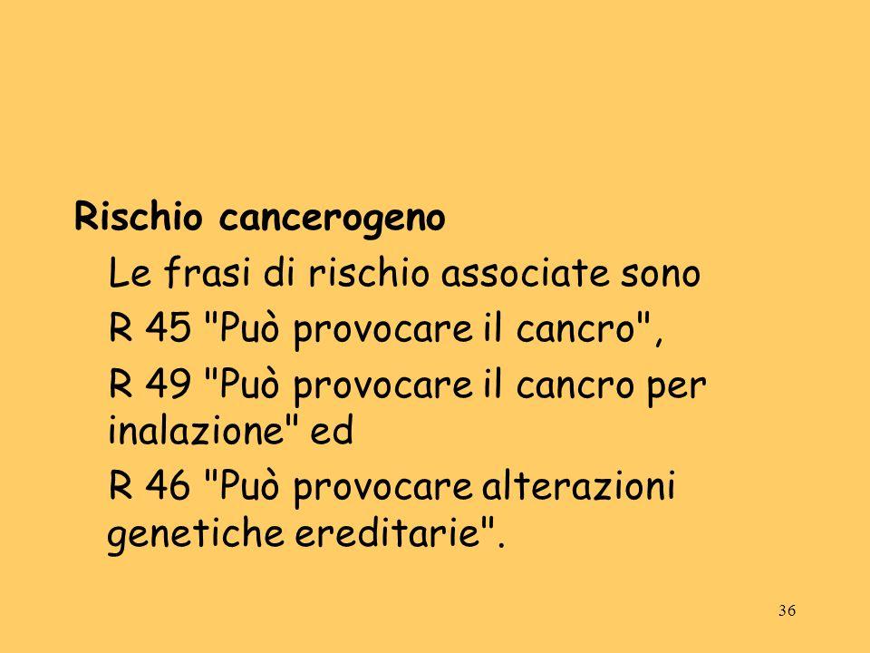 Rischio cancerogeno Le frasi di rischio associate sono. R 45 Può provocare il cancro , R 49 Può provocare il cancro per inalazione ed.