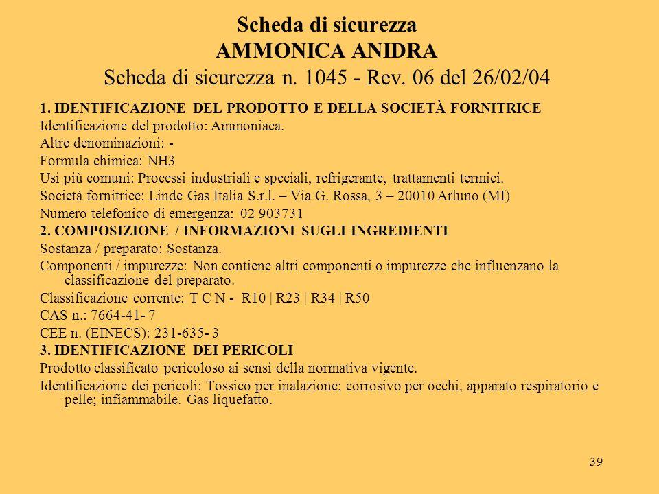 Scheda di sicurezza AMMONICA ANIDRA Scheda di sicurezza n. 1045 - Rev