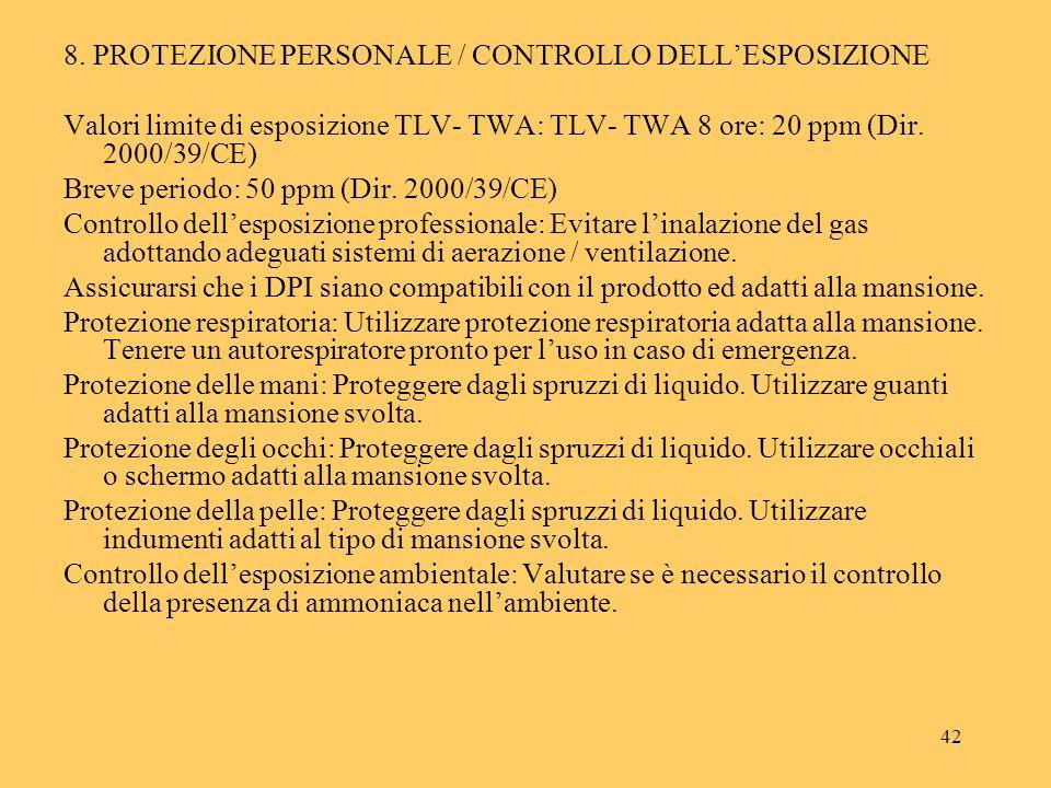 8. PROTEZIONE PERSONALE / CONTROLLO DELL'ESPOSIZIONE