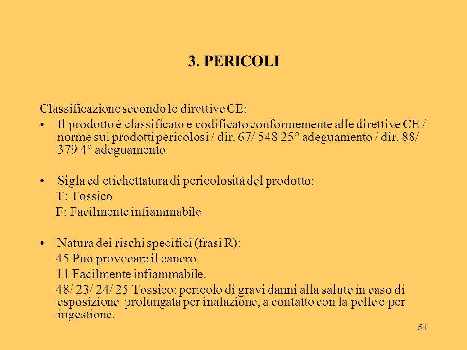 3. PERICOLI Classificazione secondo le direttive CE: