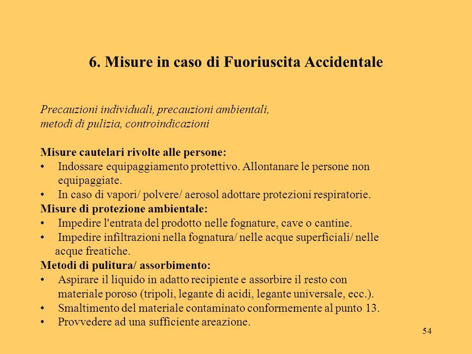 6. Misure in caso di Fuoriuscita Accidentale