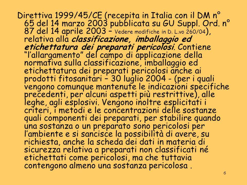 Direttiva 1999/45/CE (recepita in Italia con il DM n° 65 del 14 marzo 2003 pubblicata su GU Suppl.