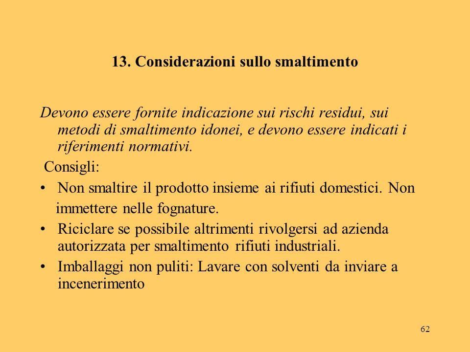 13. Considerazioni sullo smaltimento
