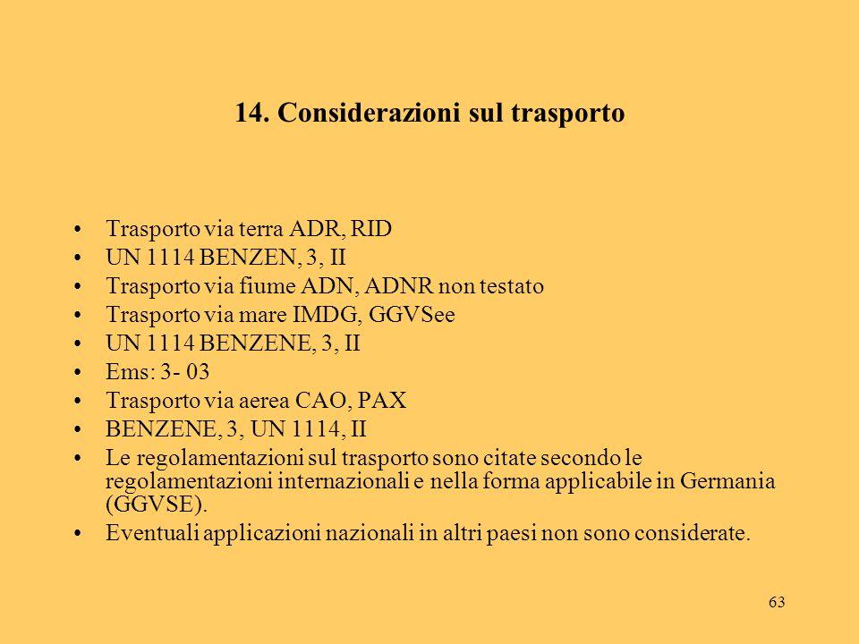 14. Considerazioni sul trasporto