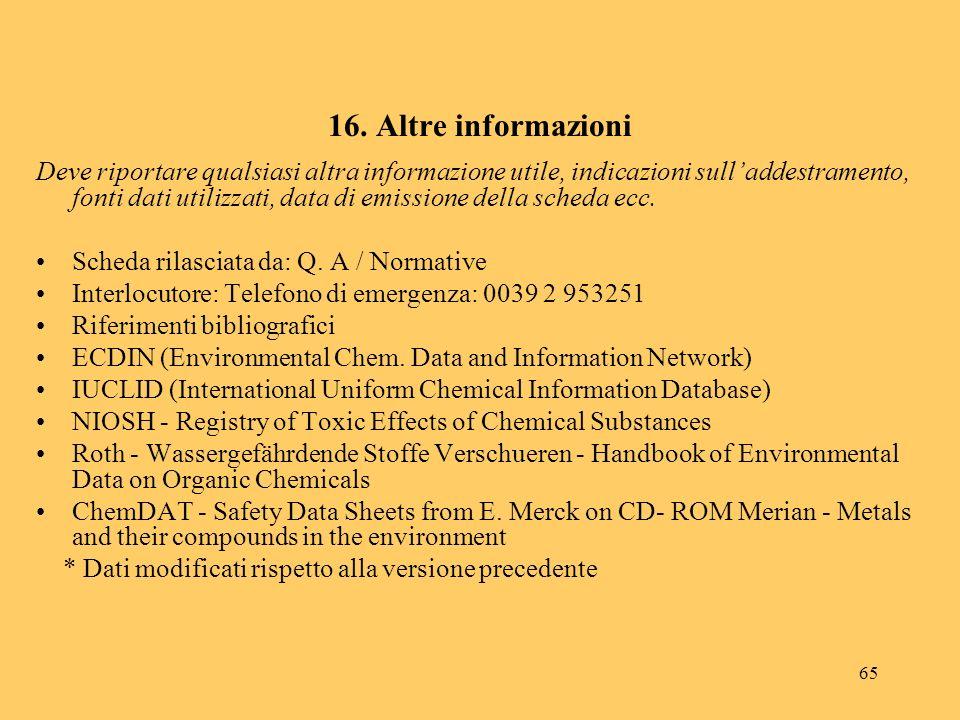 16. Altre informazioni