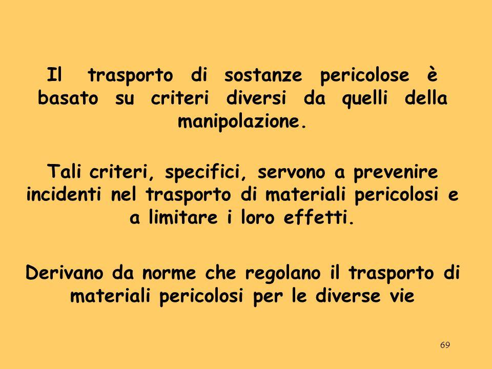 Il trasporto di sostanze pericolose è basato su criteri diversi da quelli della manipolazione.