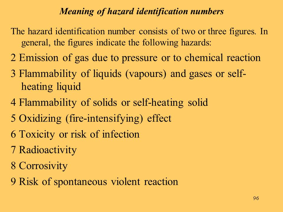 Meaning of hazard identification numbers