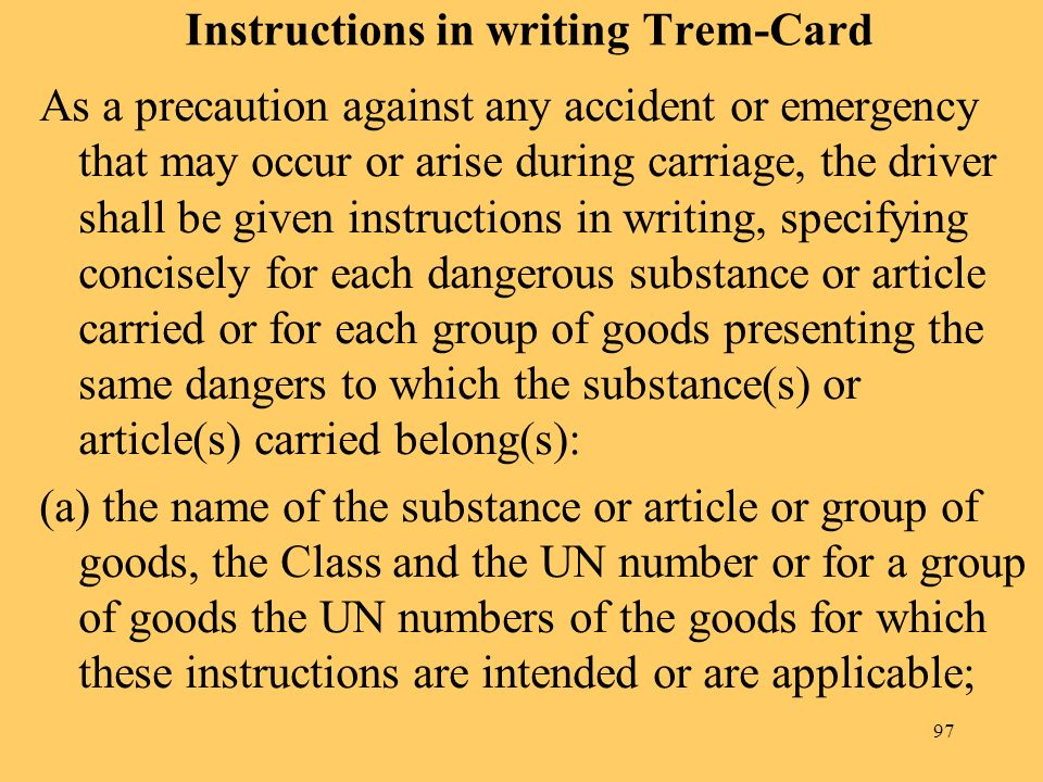 Instructions in writing Trem-Card