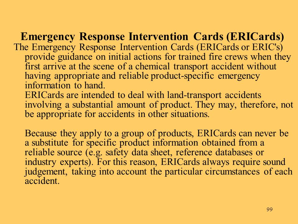 Emergency Response Intervention Cards (ERICards)