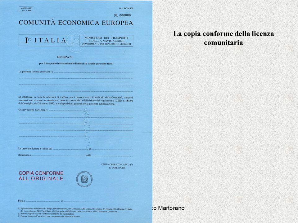 La copia conforme della licenza comunitaria