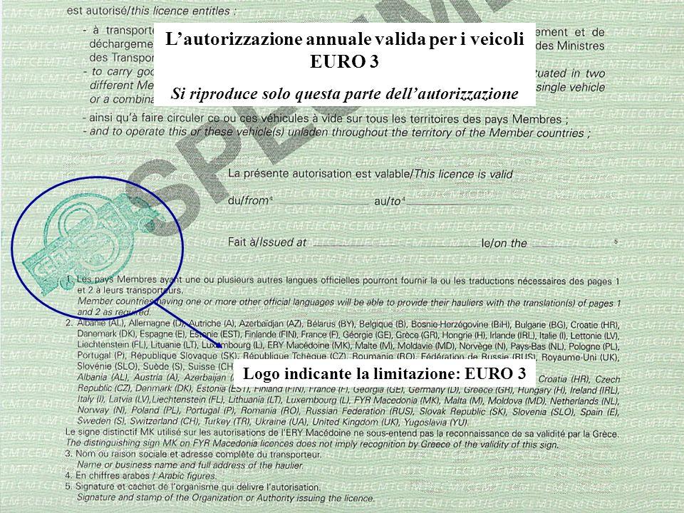 L'autorizzazione annuale valida per i veicoli EURO 3