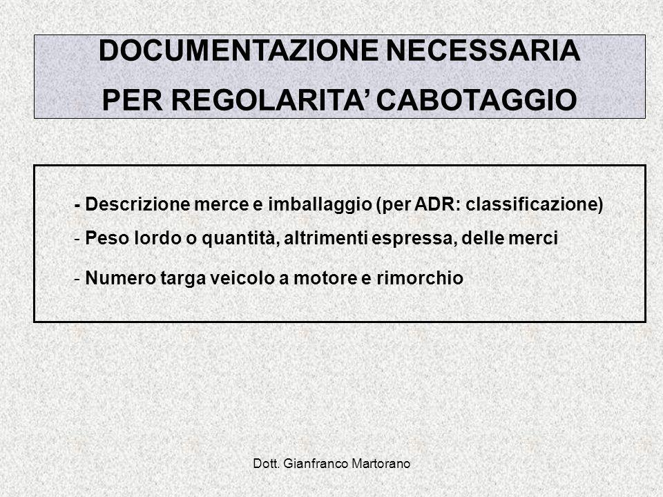 DOCUMENTAZIONE NECESSARIA PER REGOLARITA' CABOTAGGIO