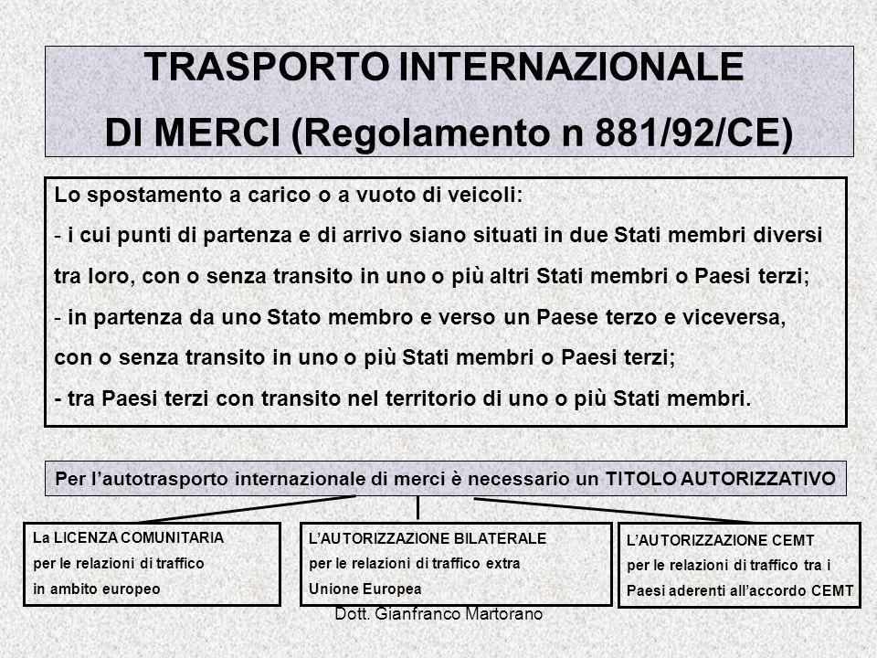 TRASPORTO INTERNAZIONALE DI MERCI (Regolamento n 881/92/CE)