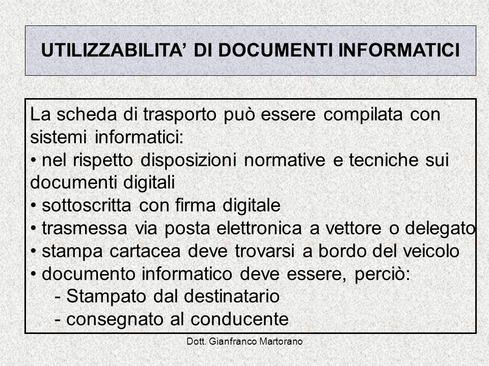 UTILIZZABILITA' DI DOCUMENTI INFORMATICI