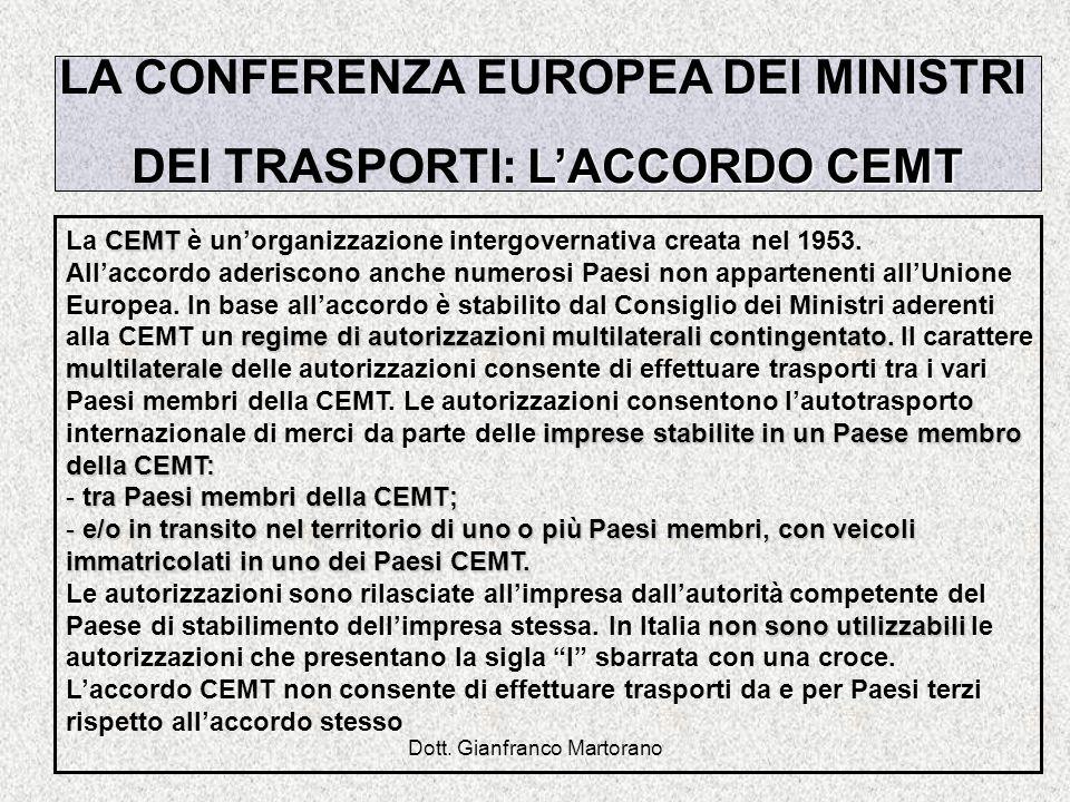 LA CONFERENZA EUROPEA DEI MINISTRI DEI TRASPORTI: L'ACCORDO CEMT