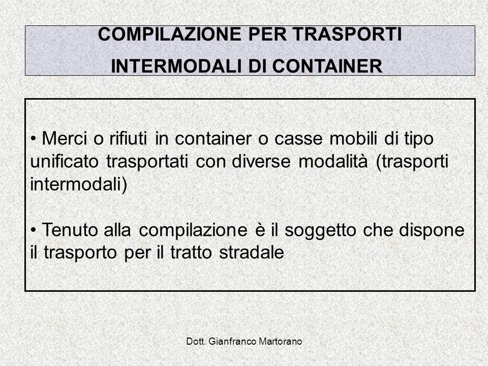 COMPILAZIONE PER TRASPORTI INTERMODALI DI CONTAINER