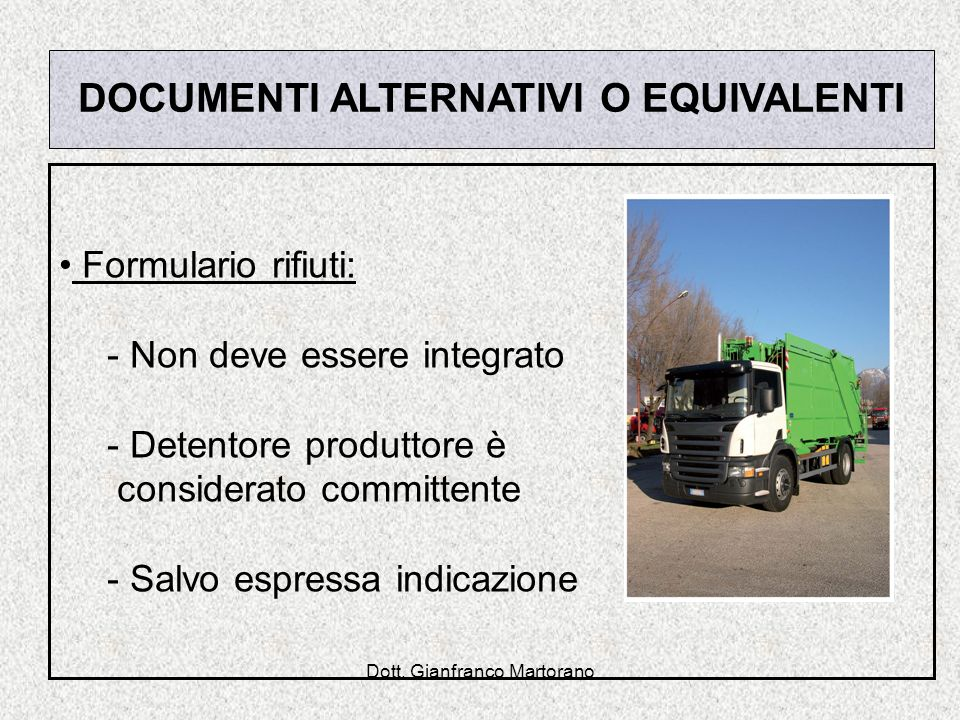 DOCUMENTI ALTERNATIVI O EQUIVALENTI
