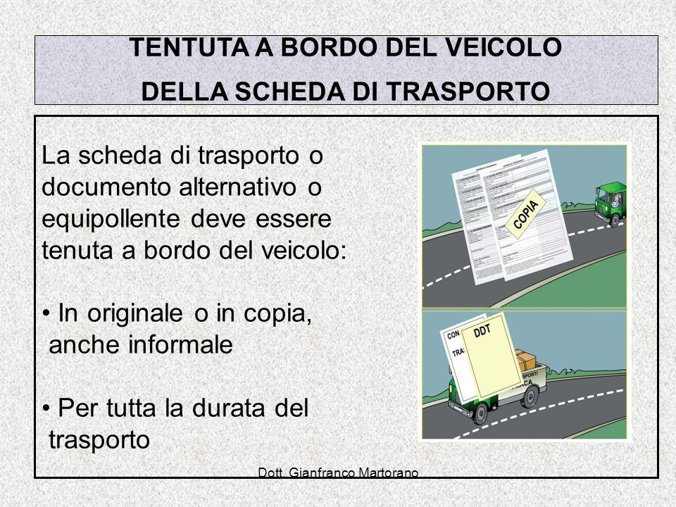 TENTUTA A BORDO DEL VEICOLO DELLA SCHEDA DI TRASPORTO
