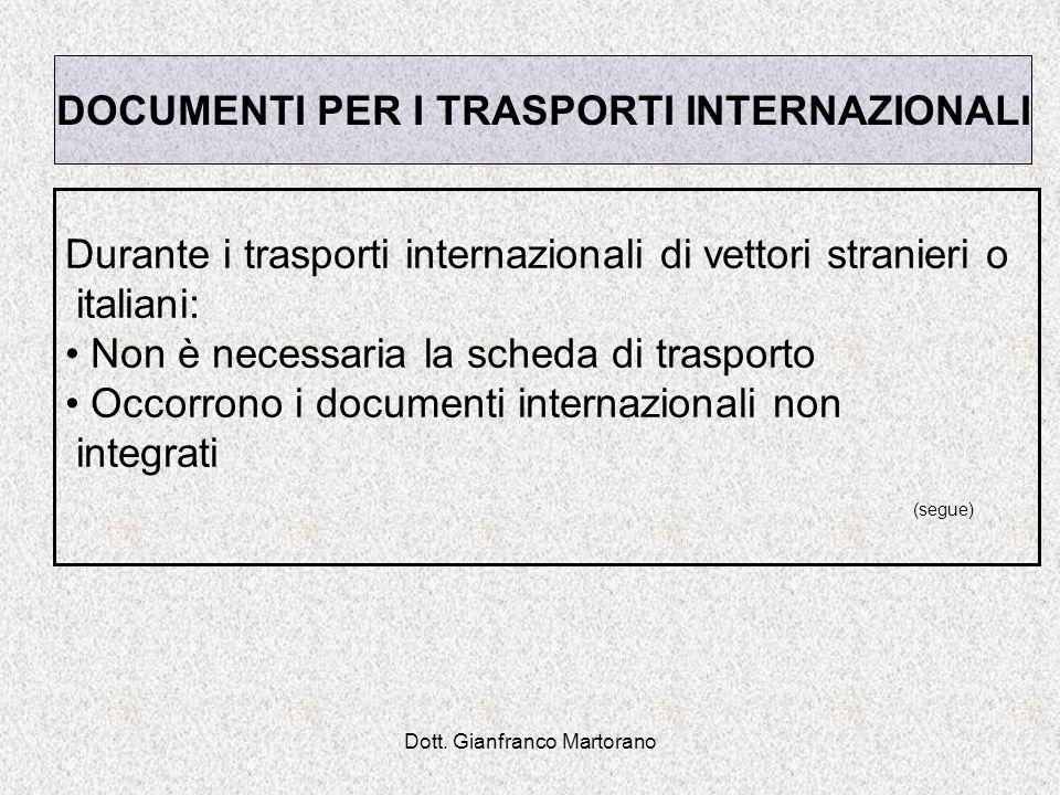 DOCUMENTI PER I TRASPORTI INTERNAZIONALI