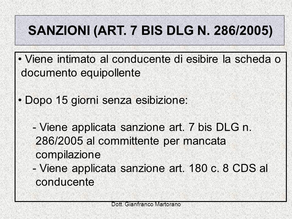 SANZIONI (ART. 7 BIS DLG N. 286/2005)