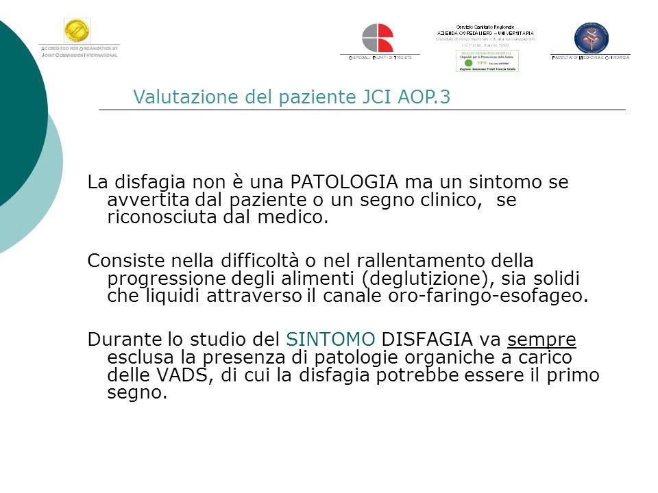 Valutazione del paziente JCI AOP.3