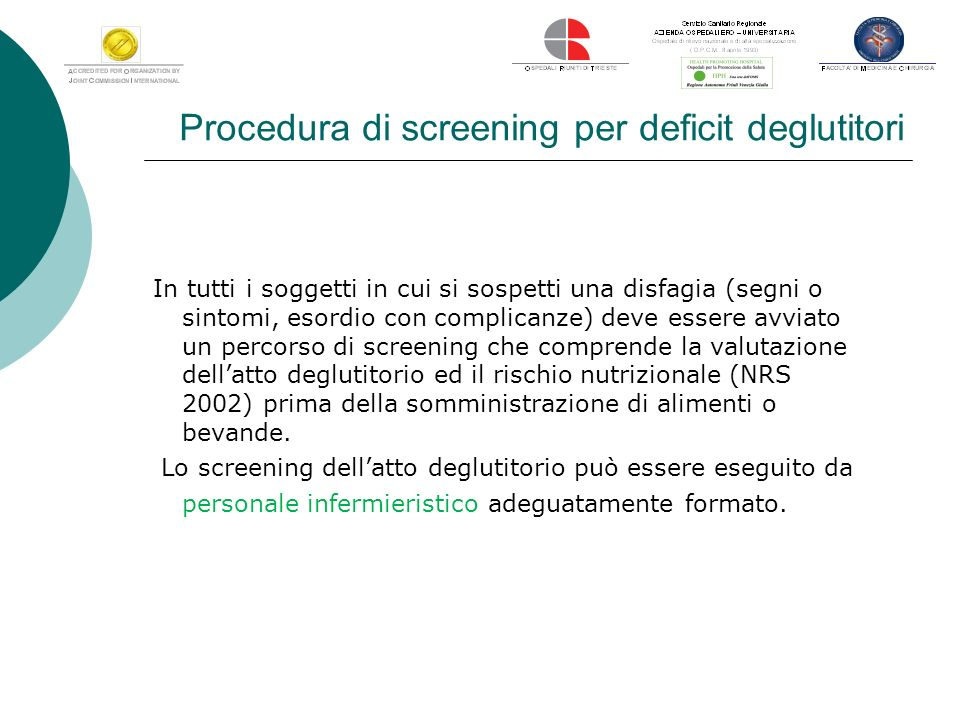 Procedura di screening per deficit deglutitori