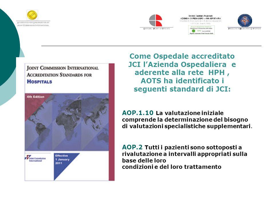 Come Ospedale accreditato JCI l'Azienda Ospedaliera e aderente alla rete HPH , AOTS ha identificato i seguenti standard di JCI: