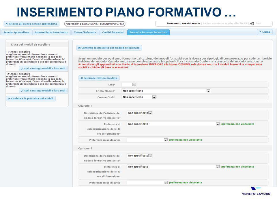 INSERIMENTO PIANO FORMATIVO …