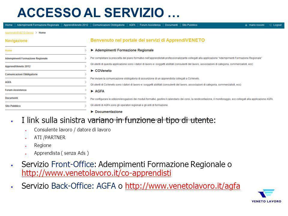 ACCESSO AL SERVIZIO … I link sulla sinistra variano in funzione al tipo di utente: Consulente lavoro / datore di lavoro.