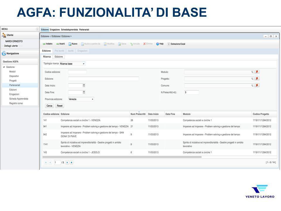 AGFA: FUNZIONALITA' DI BASE