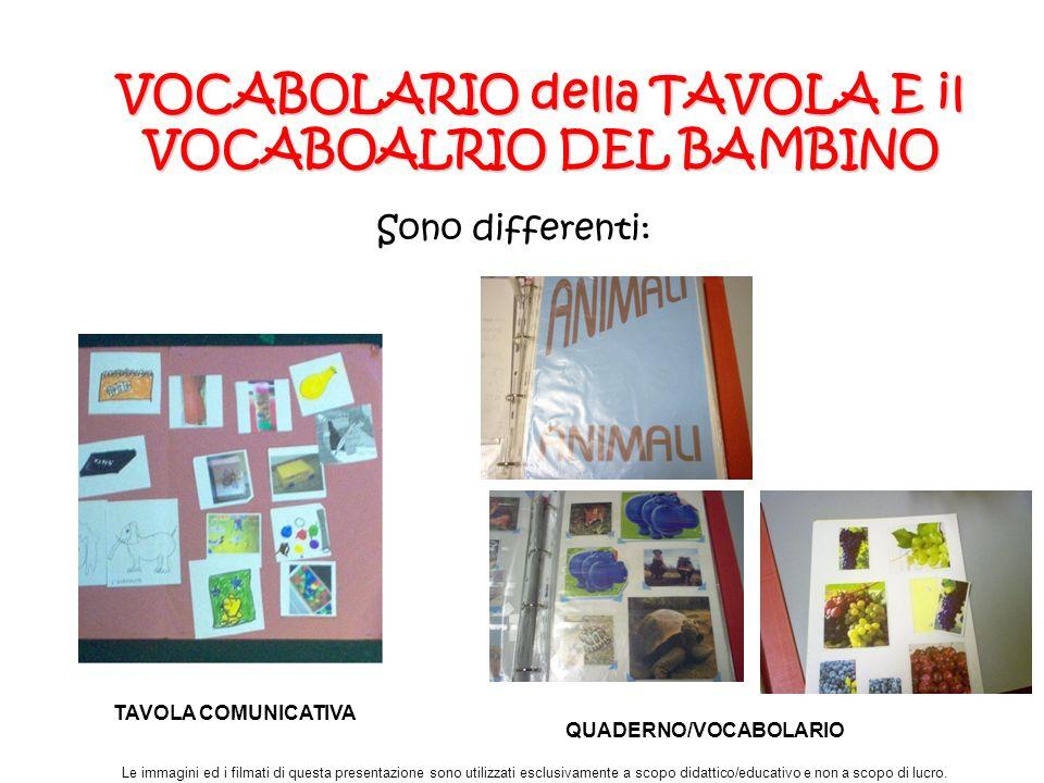 VOCABOLARIO della TAVOLA E il VOCABOALRIO DEL BAMBINO
