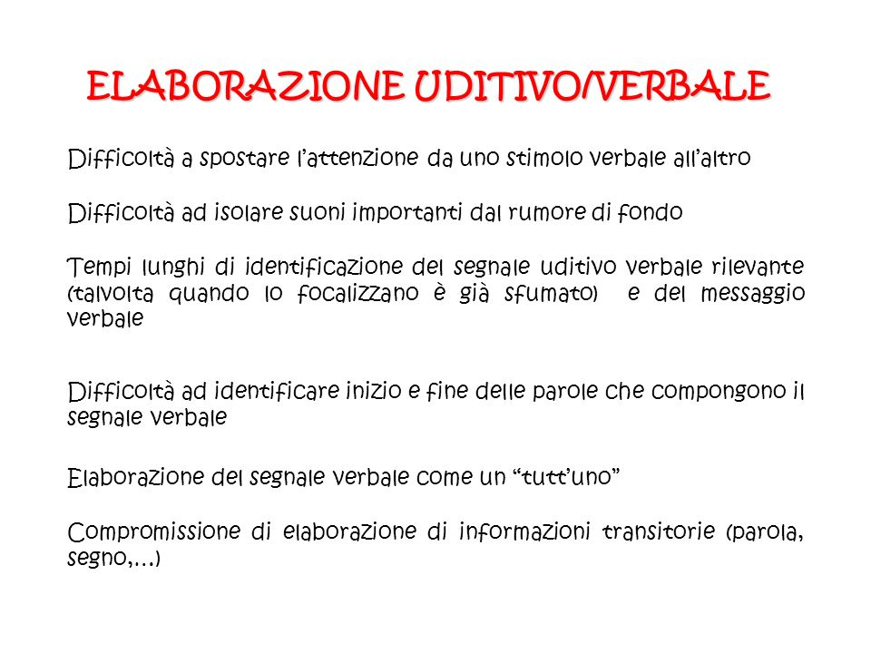 ELABORAZIONE UDITIVO/VERBALE