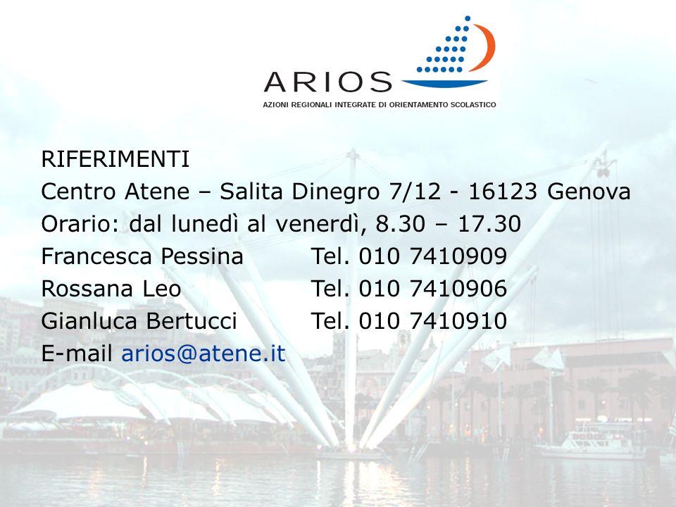 RIFERIMENTI Centro Atene – Salita Dinegro 7/12 - 16123 Genova. Orario: dal lunedì al venerdì, 8.30 – 17.30.
