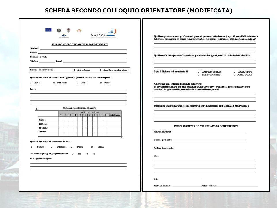 SCHEDA SECONDO COLLOQUIO ORIENTATORE (MODIFICATA)