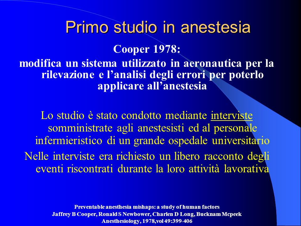 Primo studio in anestesia
