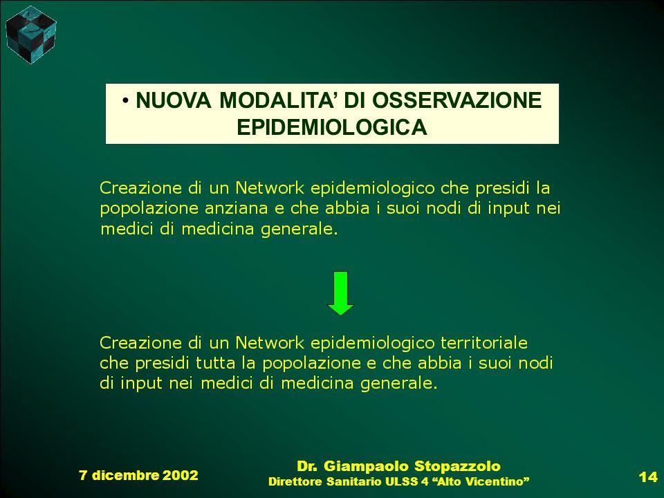 NUOVA MODALITA' DI OSSERVAZIONE EPIDEMIOLOGICA